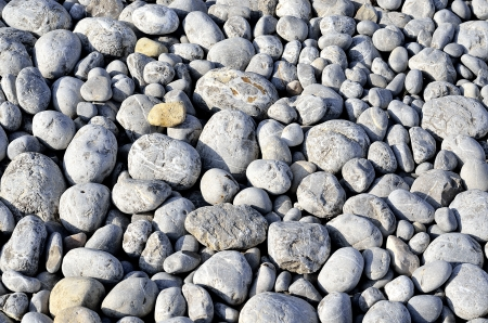Many gray round stones from the beach