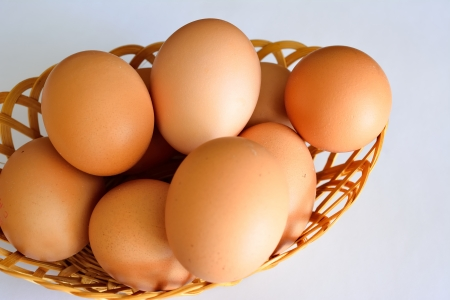 Fresh brown eggs, freshly laid by free-range chickens