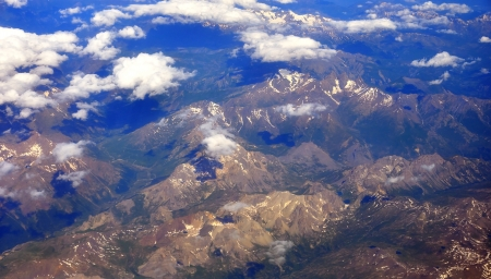 View from a plane over the Swiss Alps