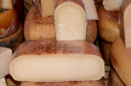 Typical mahon cheese made ??from cow and sheep milk Stock Photo