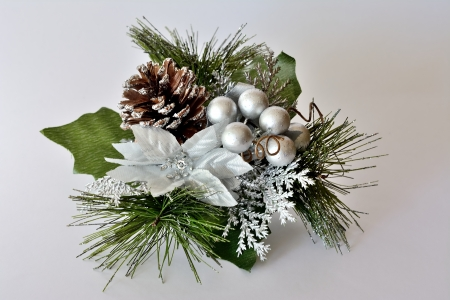 Christmas ornament decorated with silver and white objects