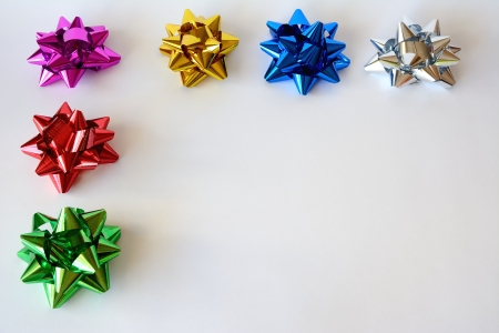 Christmas ornaments with colored and white background photo