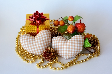 A gift box two hearts necklace gold and decorated