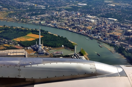 Aerial view of the city of Dusseldorf and the Rhine river photo