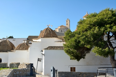 Side view of the cathedral of Ibiza