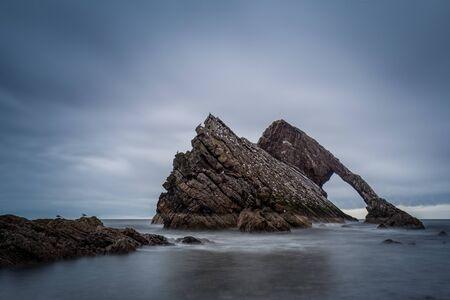 Rock coast bow fiddle rock Scotland east coast ark dark sky silence sea ocean her long exposure