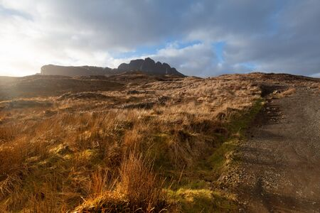 Path to the Old man of Storr Pinnacle Rock Isle of Skye Scotland Stock Photo