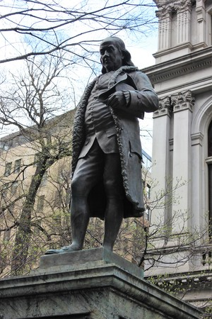 Benjamin Franklin statue along the Freedom Trail in Boston
