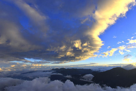 Sunset in yushan national park with could