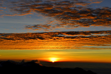 could: Sunset in yushan national park with could