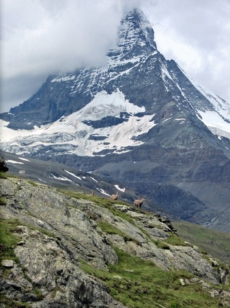 securing: famous Matterhorn in Swiss canton Valais in clouds