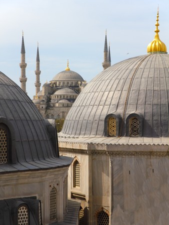 view from Hagia Sofia on over the roofs of the blue mosque in Istanbul Turkey Stock Photo - 7153215