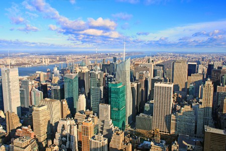view over New York skyline by day seen from Rockefeller center Stock Photo