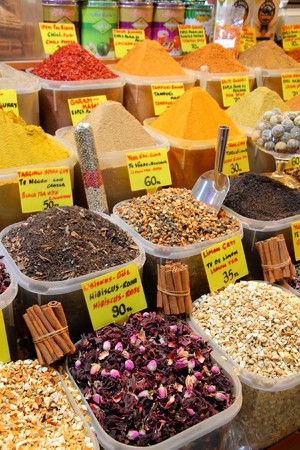 haggling: displays of products on offer in the world famous Spice market in Istanbul Turkey