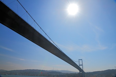 very long suspension bridge connecting Asia with Europe above the Bosporus near Istanbul, Turkey