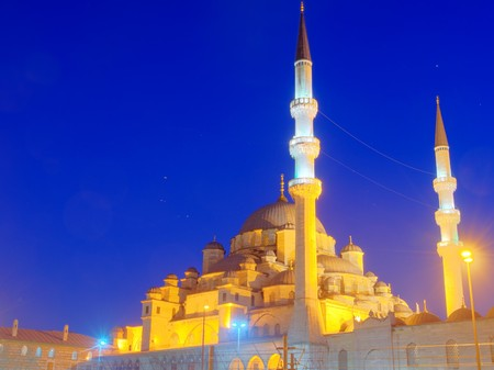 New Mosque in Istanbul Turkey illuminated at night, HDR image photo