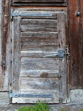 log in: old wooden withered shed door with weeds in front