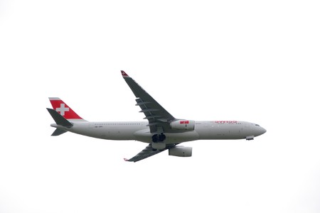 EMMEN - JULY 24: Swissair showcases it's latest plane an Airbus  A330-300 at the Airshow 100 years Swiss aviation July 24, 2010 in Emmen, Switzerland.