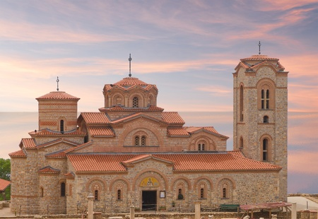clement: Holy historic church Saint Panteleimon  founded by Clement on the coast of lake Ohrid in town Ohrid Macedonia at sunset Stock Photo
