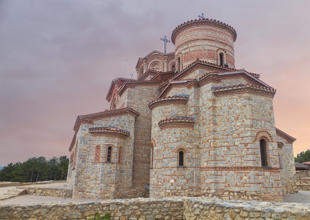 panteleimon: Holy historic church Saint Panteleimon  founded by Clement on the coast of lake Ohrid in town Ohrid Macedonia at sunset Stock Photo