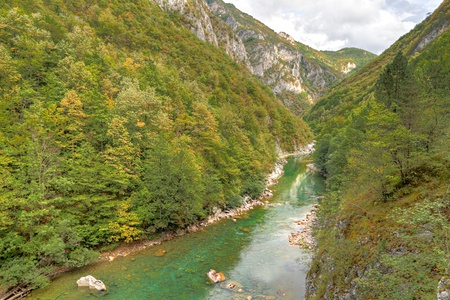 the deepest: River Tara with its beautiful green water running trough green Tara Canyon under a bridge. One of the world deepest Canyons and UNESCO World Heritage, Montenegro. Stock Photo