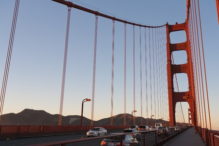View walking the Golden Gate bridge San Francisco at late afternoon Stock Photo - 9226721