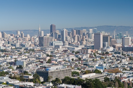 modern city San Francisco seen from above, with bright sky scrapers photo
