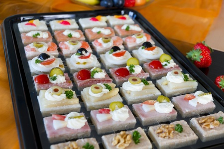 mixed canapes with nice decoration for Office meeting buffet Stock Photo