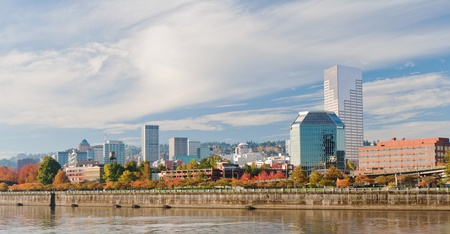 eastbank: Portland Oregon downtown modern architecture seen from the waterfront with vibrant autumn color