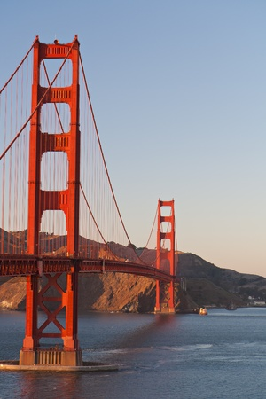 Golden Gate bridge San Francisco at late afternoon with the surrounding bay, copyspace photo