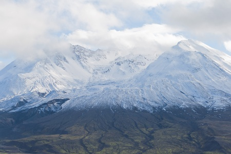 helens: volcano mount Saint Helens decapitated top with glacier in clouds Stock Photo