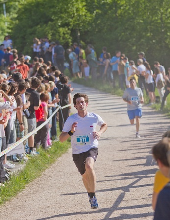 ZURICH - May 07: 11.060 participants of 790 teams  take  part in Academic relay race Sola run held in Zurich area for the 38th time. May 07, 2010 in Zurich, Switzerland. Stock Photo - 9489031