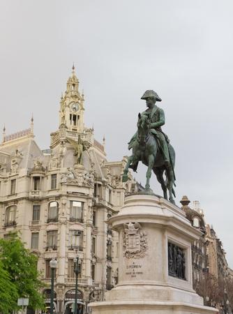 oporto: Statue on Porto main street Avenidas dos Alidaos of king Dom Pedro IV, Oporto, Portugal