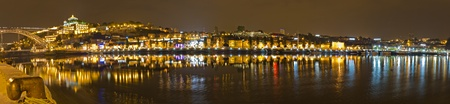 Panorama of Port wine storage village with barrel cellars of Vila Nova de Gaia reflecting in river Duora at night opposite Porto, Portugal Stock Photo