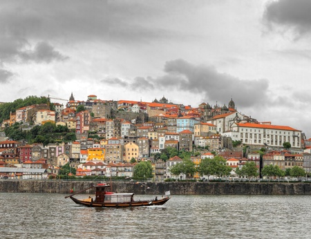 transporting: Panorama old Porto at river Duoro,with Port transporting boats,  Oporto, Portugal