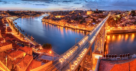 Panorama of lighted  famous bridge Ponte dom Luis above  Old town Porto and  river Duoro at night, Portugal   photo