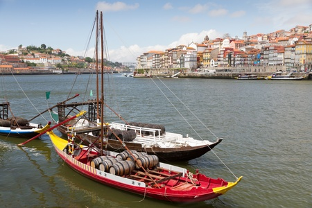 Old Porto at river Duoro with historic Port transporting boats,  Oporto, Portugal Stock Photo - 10321522
