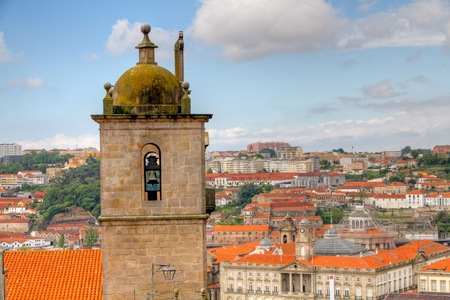 Tower and buildings of old town Porto, Portugal photo
