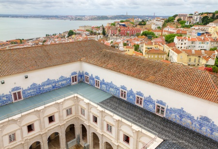 Roof  of famous church and cloister Sao Vicente de Fora Lisbon, Cloister decorated with traditional blue handpainted tiles. Portugal. photo