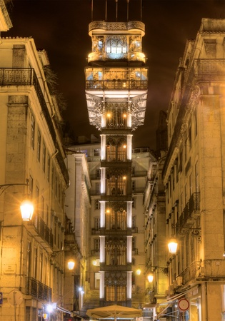 elevador: Santa Justa Lift ( Elevador de Santa Justa) also called Carmo Lift, Lisbon, Portugal Stock Photo