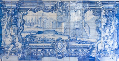 Traditional blue handpainted tiles picture in Famous church and cloister Sao Vicente de Fora Lisbon, Portugal.