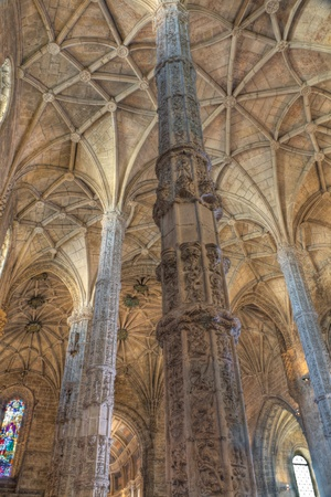 lofty: stunning gothic interior of church of Jeronimos Monastery, Lisbon, Portugal
