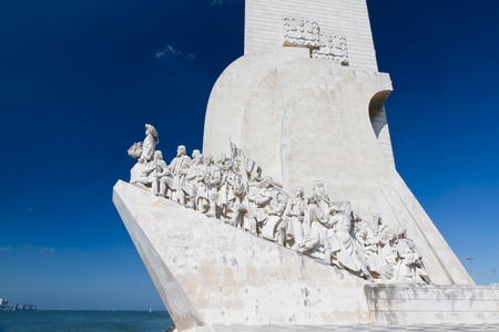 lisbon: white stone ship shaped Monument to the Discoveries hailing Portugals famous navigator and history, Portugal