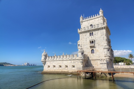 seafaring: white stone ancient fortress Lisbon Belem Tower, recalls Portugals great past as a sea-faring nation, Portugal