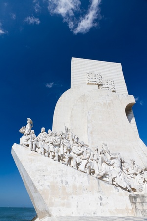 discoveries: white stone ship shaped Monument to the Discoveries hailing Portugals famous navigator and history, Portugal