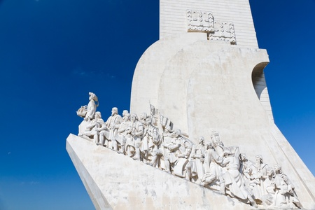 hailing: white stone ship shaped Monument to the Discoveries hailing Portugals famous navigator and history, Portugal