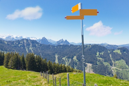 summer mountain landscape with hiking signpost meadows and forest, concept for directions Stock Photo - 11943356