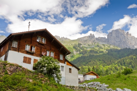 scenery set: timber farm house set in a alpine mountain scenery on a summer day near susten pass, Switzerland