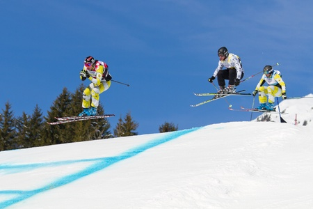 fis: GRINDELWALD � MARCH 10: Athletes fight for lead position at FIS Skicross Worldcup March 10, 2012 in Grindelwald, Switzerland. Racer Nick Zoricic died during the race, crashing into a safety fence.