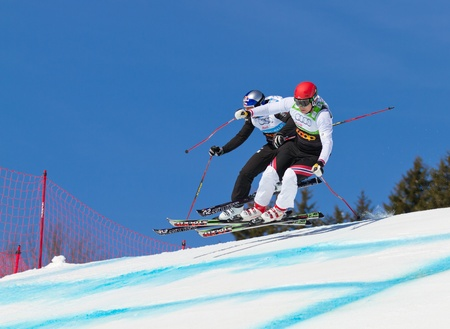 worldcup: GRINDELWALD – MARCH 10: Athletes fight for lead position at FIS Skicross Worldcup March 10, 2012 in Grindelwald, Switzerland. Racer Nick Zoricic died during the race, crashing into a safety fence.